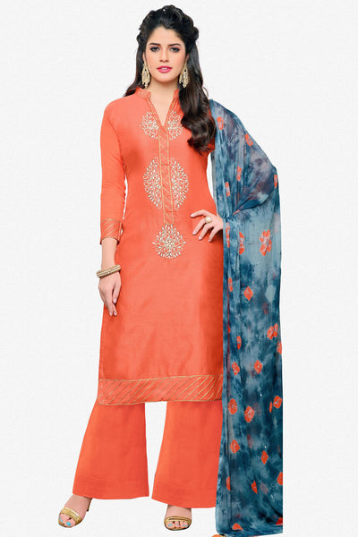 Designer Straight Cut:atisundar graceful Orange Designer Embroidered Straight Cut - 12537 - atisundar - 2 - click to zoom