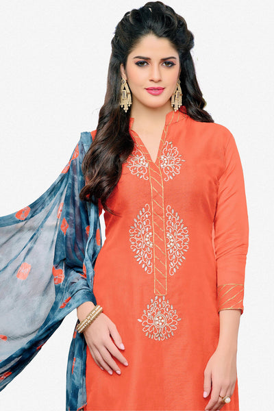 Designer Straight Cut:atisundar graceful Orange Designer Embroidered Straight Cut - 12537 - atisundar - 3 - click to zoom