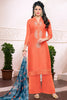 Designer Straight Cut:atisundar graceful Orange Designer Embroidered Straight Cut - 12537 - atisundar - 4 - click to zoom