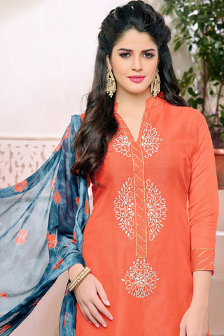 Designer Straight Cut:atisundar graceful Orange Designer Embroidered Straight Cut - 12537 - atisundar - 5