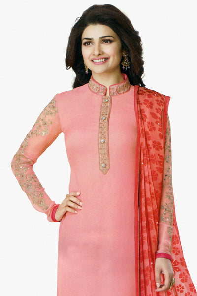 The Prachi Desai Collection:atisundar Lovely Light Pink Designer Party Wear Straight Cut Suits In Faux Georgette - 10492 - click to zoom