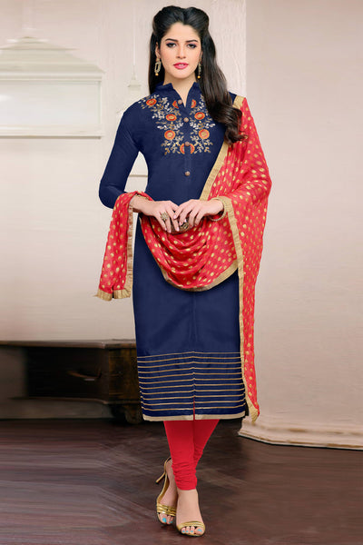 Designer Straight Cut:atisundar lovely Blue Designer Embroidered Straight Cut - 12538 - atisundar - 3 - click to zoom