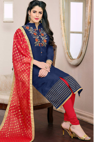 Designer Straight Cut:atisundar lovely Blue Designer Embroidered Straight Cut - 12538 - atisundar - 4 - click to zoom