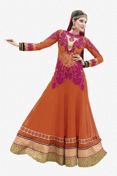 Designer Partywear Semistitched Anarkali:atisundar Beautiful Shanaya Anarkali Collection in Orange - 5282 - atisundar - 2 - click to zoom