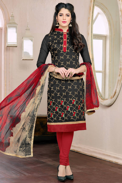 Designer Straight Cut:atisundar elegant Black Designer Embroidered Straight Cut - 12541 - atisundar - 4 - click to zoom