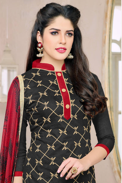 Designer Straight Cut:atisundar elegant Black Designer Embroidered Straight Cut - 12541 - atisundar - 6 - click to zoom