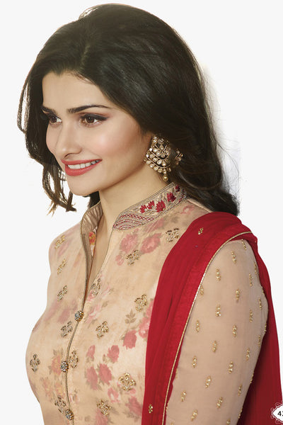 The Prachi Desai Collection:atisundar ravishing Beige Designer Embroidered Partywear Suits in Straight Cut - 10494 - click to zoom