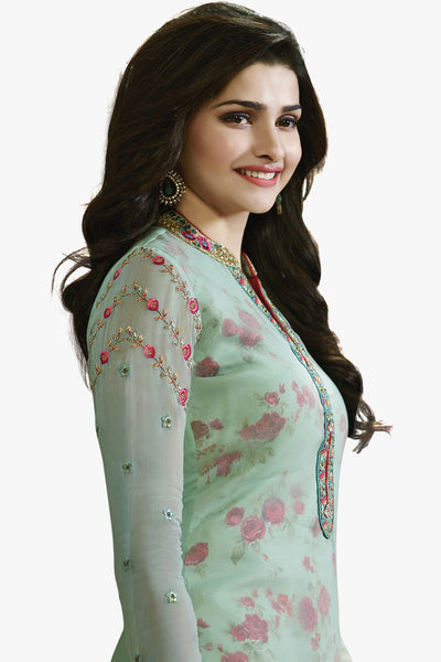 The Prachi Desai Collection:atisundar elegant Sky Blue Designer Embroidered Partywear Suits in Straight Cut - 10499 - atisundar - 3 - click to zoom