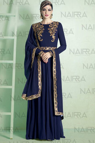 Designer Anarkali :atisundar stunning Navy Blue Designer Embroidered Party Wear Ready to Stitch Anarkali - 10503 - atisundar - 3 - click to zoom