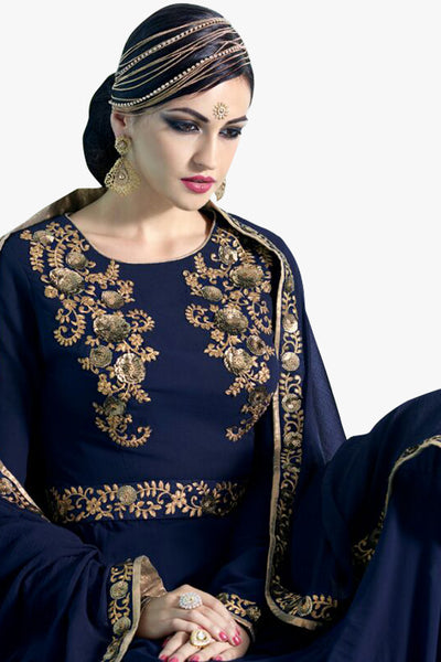Designer Anarkali :atisundar stunning Navy Blue Designer Embroidered Party Wear Ready to Stitch Anarkali - 10503 - click to zoom