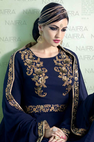 Designer Anarkali :atisundar stunning Navy Blue Designer Embroidered Party Wear Ready to Stitch Anarkali - 10503 - atisundar - 4 - click to zoom