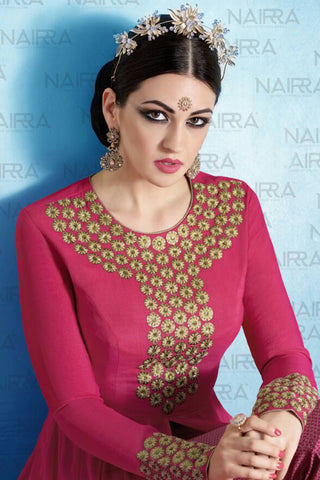 Designer Anarkali :atisundar Lovely Pink Designer Embroidered Party Wear Ready to Stitch Anarkali - 10506 - atisundar - 4