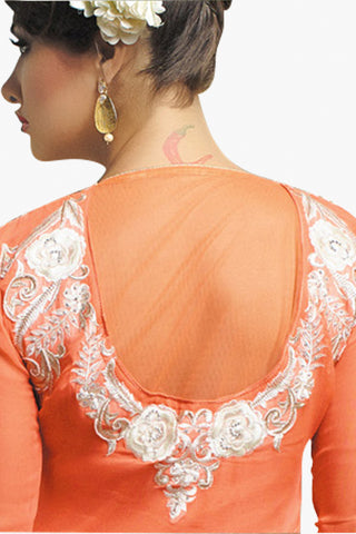 Designer Straight Cut:atisundar refined Peach Designer Embroidered Party Wear Straight Cut In Faux Georgette - 11146 - atisundar - 3