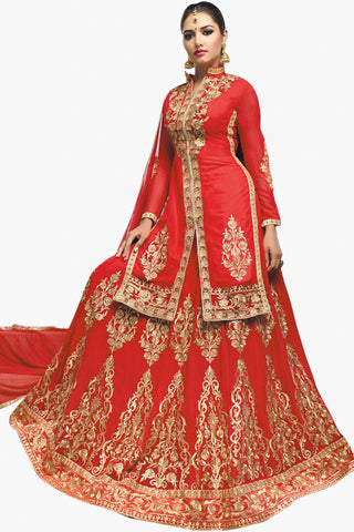 Designer Lehenga:atisundar fair Faux Georgette Designer Embroidered Party Wear Lehenga in Faux Georgette  in Red - 11151 - atisundar - 2
