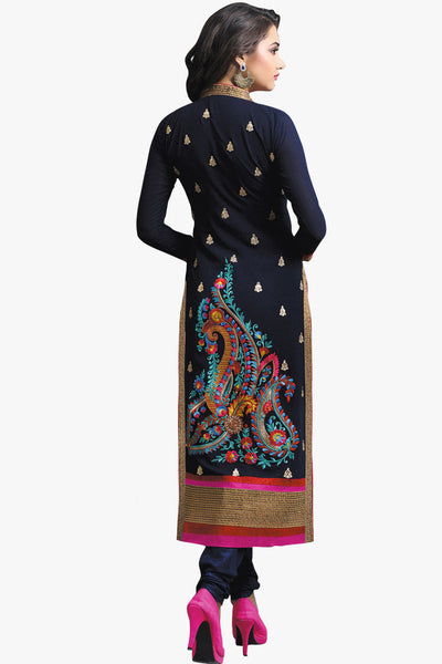 Designer Straight Cut:atisundar Superb Navy Blue Designer Embroidered Party Wear Straight Cut In Faux Georgette - 11148 - click to zoom