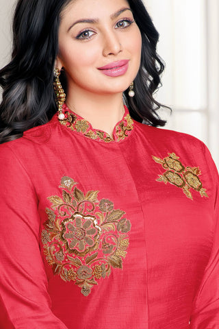 Designer Straight Cut:atisundar ravishing Red Designer Party Wear Straight Cut Fearturing Ayesha Takia - 12653