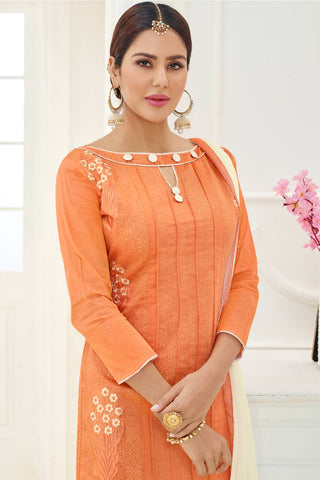 Designer Straight Cut:atisundar excellent Orange Designer Party Wear Straight Cut - 14156
