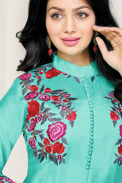 Designer Straight Cut:atisundar Beautiful Sky Blue Designer Party Wear Straight Cut Fearturing Ayesha Takia - 12654 - click to zoom