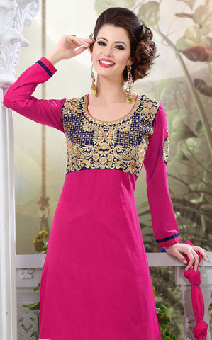 Designer Semi Stitched Stright cut Cotton Suits:atisundar Charismatic   in Pink - 5273 - atisundar - 4