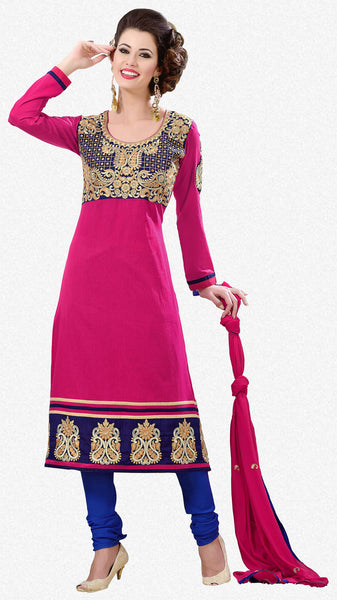 Designer Semi Stitched Stright cut Cotton Suits:atisundar Charismatic   in Pink - 5273 - atisundar - 2 - click to zoom