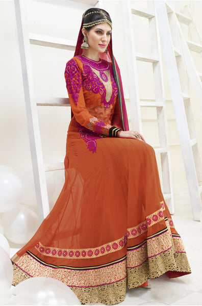 Designer Partywear Semistitched Anarkali:atisundar Beautiful Shanaya Anarkali Collection in Orange - 5282 - atisundar - 5 - click to zoom