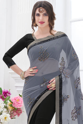 Designer Sarees:atisundar bewitching Designer Party Wear Saree with Border in Grey And Black  - 12075 - atisundar - 4