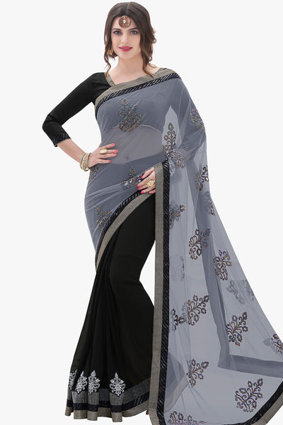82b7132ca06cc3 Designer Sarees:atisundar bewitching Designer Party Wear Saree with Border  in Grey And Black -