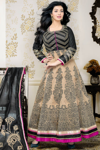 Designer Anarkali:atisundar Superb Black And Cream Designer Party Wear Anarkali Fearturing Ayesha Takia - 12657