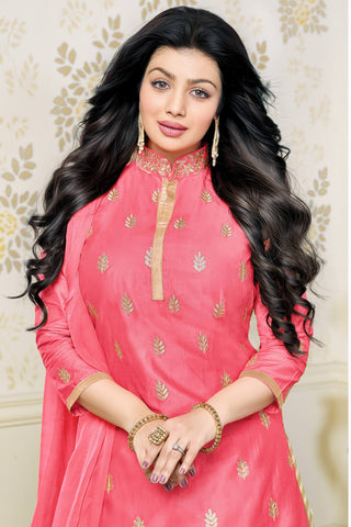 Designer Lehenga:atisundar angelic Glazed Cotton Designer Party Wear Lehenga Featuring Ayesha Takia in Pink - 12660
