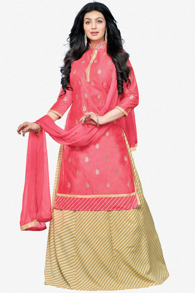 Designer Lehenga:atisundar angelic Glazed Cotton Designer Party Wear Lehenga Featuring Ayesha Takia in Pink - 12660 - click to zoom