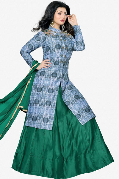 Designer Lehenga:atisundar radiant Glazed Cotton Designer Party Wear Lehenga Featuring Ayesha Takia in Blue - 12661 - click to zoom