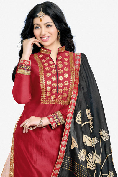 Designer Lehenga:atisundar pretty Glazed Cotton Designer Party Wear Lehenga Featuring Ayesha Takia in Red - 12662 - click to zoom