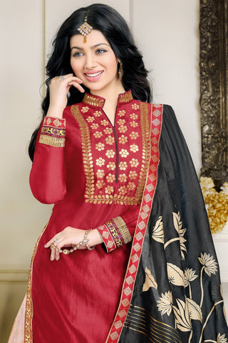 Designer Lehenga:atisundar pretty Glazed Cotton Designer Party Wear Lehenga Featuring Ayesha Takia in Red - 12662