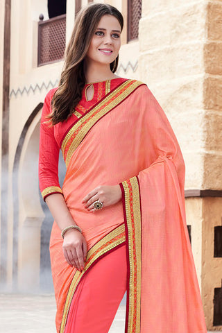 Designer Party Wear Saree:atisundar excellent Designer Party Wear Saree with Heavy Border in Orange  - 12150