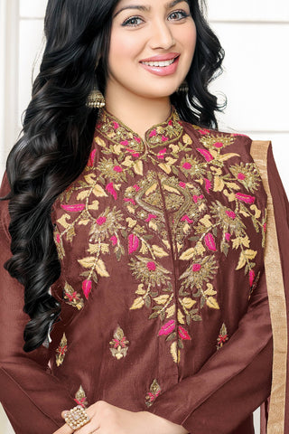 Designer Straight Cut:atisundar resplendent Brown Designer Party Wear Straight Cut Fearturing Ayesha Takia - 12655