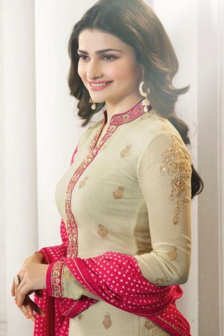 Designer Straight Cut:atisundar comely Cream And Pink Designer Party Wear Straight Cut Featuring Prachi Desai - 12560