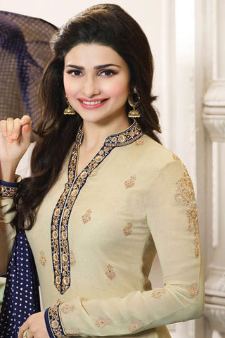 Designer Straight Cut:atisundar splendid Cream And Blue  Designer Party Wear Straight Cut Featuring Prachi Desai - 12561