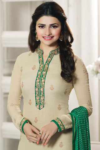Designer Straight Cut:atisundar beauteous Cream And Green Designer Party Wear Straight Cut Featuring Prachi Desai - 12562