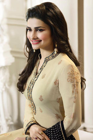 Designer Straight Cut:atisundar excellent Cream And Black Designer Party Wear Straight Cut Featuring Prachi Desai - 12563