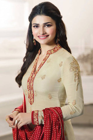 Designer Straight Cut:atisundar wonderful Cream And Red Designer Party Wear Straight Cut Featuring Prachi Desai - 12565