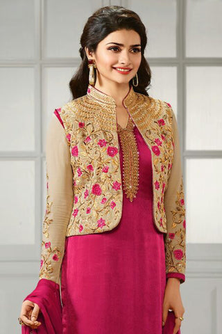 Designer Straight Cut:atisundar enticing Pink And Cream Designer Party Wear Straight Cut Featuring Prachi Desai - 12556