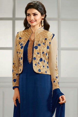 Designer Straight Cut:atisundar cute Blue And Cream  Designer Party Wear Straight Cut Featuring Prachi Desai - 12559