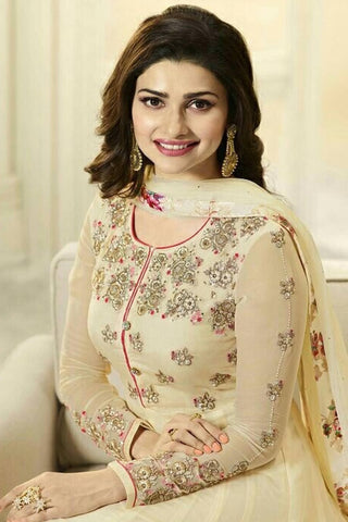 Designer Anarkali:atisundar excellent Cream Designer Party Wear Anarkali Featuring Prachi Desai - 12591