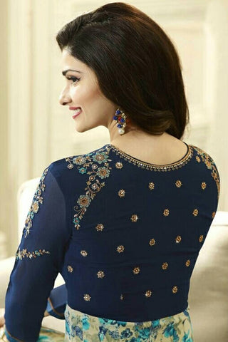 Designer Anarkali:atisundar radiant Blue Designer Party Wear Anarkali Featuring Prachi Desai - 12594