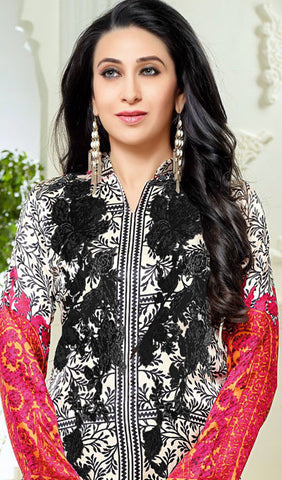 The Karishma Kapoor Collection:atisundar pretty White And Black And Pink designer print in cambric cotton and blended cotton suits - 9997 - atisundar - 3