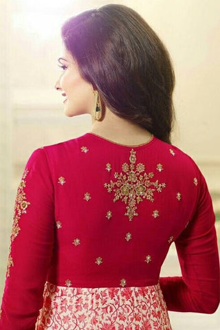 Designer Anarkali:atisundar cute Red Designer Party Wear Anarkali Featuring Prachi Desai - 12598