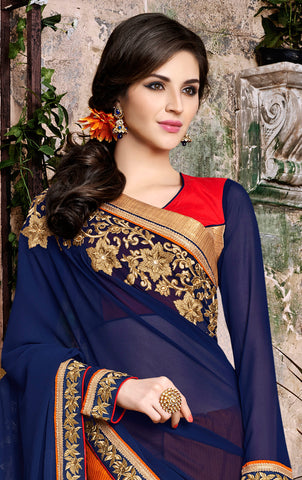 Designer Embroidered Saree:atisundar Beautiful Designer Embroidered Party Wear Sarees in Blue  - 8899 - atisundar - 3