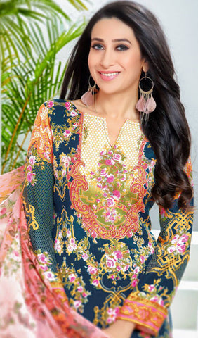 The Karishma Kapoor Collection:atisundar gorgeous Blue And Orange designer print in cambric cotton and blended cotton suits - 10001 - atisundar - 3
