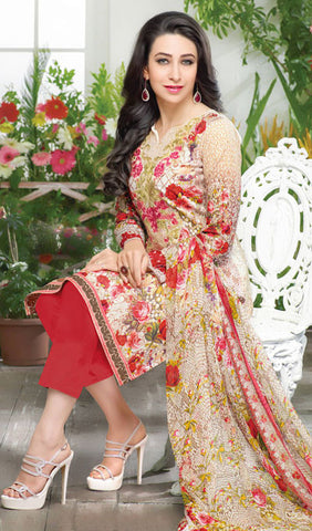 The Karishma Kapoor Collection:atisundar cute Red And Cream designer print in cambric cotton and blended cotton suits - 10003 - atisundar - 3