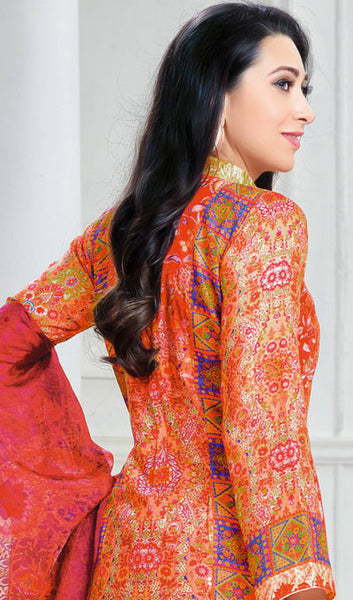The Karishma Kapoor Collection:atisundar fair Orange And Red designer print  in cambric cotton and blended cotton suits - 10005 - atisundar - 2 - click to zoom
